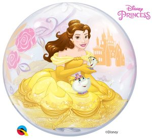 Balão Bubble Transparente Disney Princesa Bela - 22'' 56cm - Qualatex - Rizzo festas