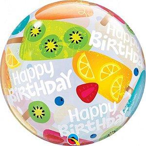 Balão Bubble Transparente Picolé de Frutas - 22'' 56cm - Qualatex - Rizzo festas