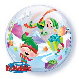 Balão Bubble Transparente Natal - 22'' 56cm - Qualatex - Rizzo festas