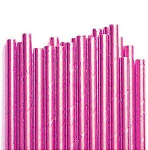 Canudo de Papel Metalizado Pink - 20 unidades - ArtLille - Rizzo Festas