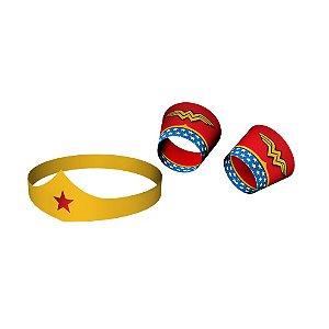 Tiara e Bracelete de Papel Festa Mulher Maravilha - 06 unidades - Festcolor - Rizzo Festas