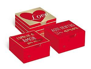 Caixa Divertida 4 Brigadeiros Amor Sortido 8,5 x 8,5 x 3,5cm - 10 unidades - Cromus - Rizzo Embalagens