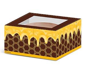 Caixa para 1 Pão de Mel Favo 7,5 x 7,5 x 4cm - 10 unidades - Cromus - Rizzo Embalagens