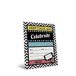 Convite Festa Keep Calm - 8 unidades - Cromus - Rizzo Festas