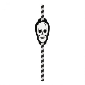 Canudo Incolor com Aplique Festa Skull - 20 unidades - Cromus - Rizzo Festas