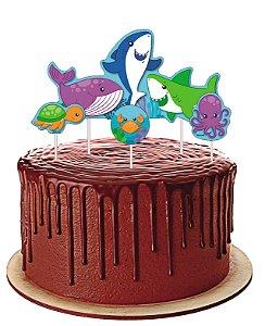 Topper para Bolo Festa Fundo do Mar - Festcolor - Rizzo Festas
