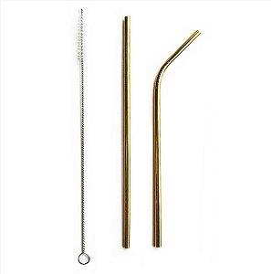 Kit Canudo de Metal Inox Dourado com 3 peças - Rizzo Embalagens