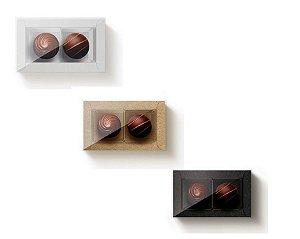 Caixa Rentangular com Tampa  Cristal Para 2 Doces - Cromus Profissional - Rizzo Embalagens