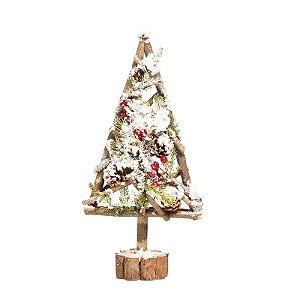 Árvore de Natal Pinheiro Nevado Base Tronco 40cm - 01 unidade - Cromus Natal - Rizzo Embalagens