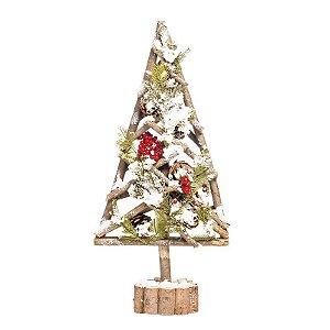 Árvore de Natal Pinheiro Nevado Base Tronco 60cm - 01 unidade - Cromus Natal - Rizzo Embalagens