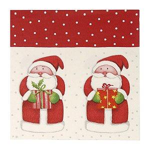 Guardanapo de Papel Noéis Vermelho e Branco 33cm - 20 folhas - Cromus Natal - Rizzo Embalagens