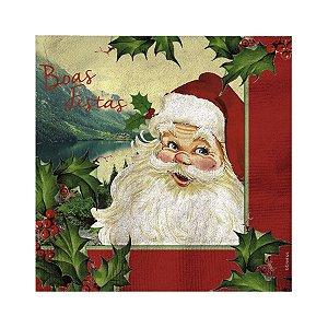 Guardanapo de Papel Papai Noel Boas Festas 33cm - 20 folhas - Cromus Natal - Rizzo Embalagens