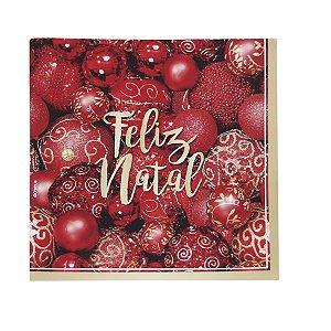 Guardanapo de Papel Bolas Natalinas Vermelhas 25cm - 20 folhas - Cromus Natal - Rizzo Embalagens
