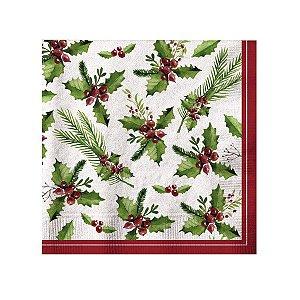 Guardanapo de Papel Azevinho 33cm - 20 folhas - Cromus Natal - Rizzo Embalagens