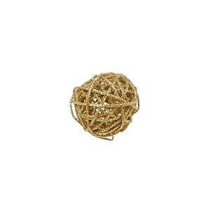 Bola Rattan Ouro 6cm - 01 unidade - Cromus Natal - Rizzo Embalagens