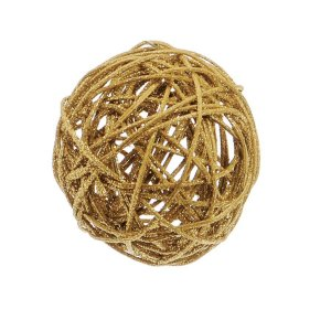 Bola Rattan Ouro 7,5cm - 01 unidade - Cromus Natal - Rizzo Embalagens