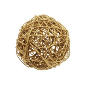 Bola Rattan Ouro 10cm - 01 unidade - Cromus Natal - Rizzo Embalagens