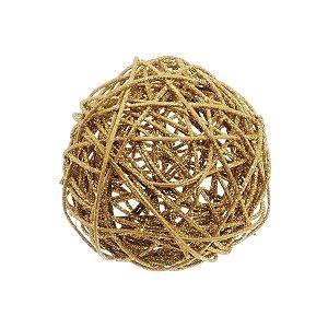 Bola Rattan Ouro 10cm - 01 unidade - Cromus Natal - Rizzo Embalagens