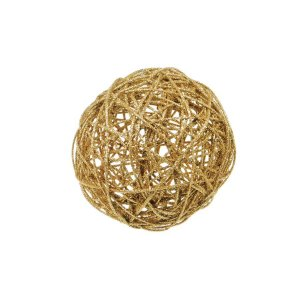 Bola Rattan Ouro 15cm - 01 unidade - Cromus Natal - Rizzo Embalagens