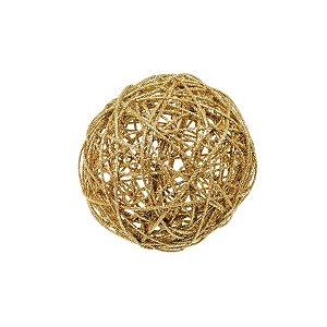 Bola Rattan Ouro 15cm - 01 unidade - Cromus Natal - Rizzo Embalagens