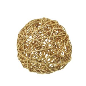 Bola Rattan Ouro 20cm - 01 unidade - Cromus Natal - Rizzo Embalagens
