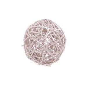 Bola Rattan Nude 15cm - 01 unidade - Cromus Natal - Rizzo Embalagens