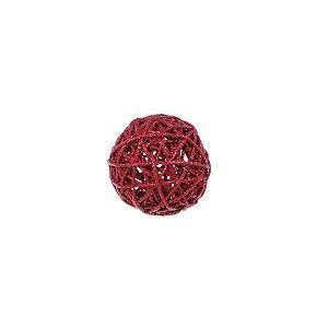 Bola Rattan Vermelho 7,5cm - 01 unidade - Cromus Natal - Rizzo Embalagens