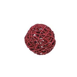 Bola Rattan Vermelho 10cm - 01 unidade - Cromus Natal - Rizzo Embalagens