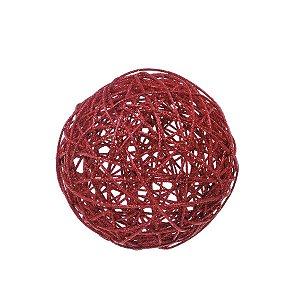 Bola Rattan Vermelho 20cm - 01 unidade - Cromus Natal - Rizzo Embalagens