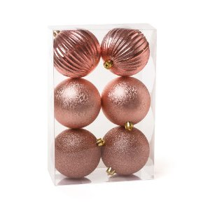 Kit Bolas Texturizadas Ondas Rose Gold 8cm - 06 unidades - Cromus Natal - Rizzo Embalagens