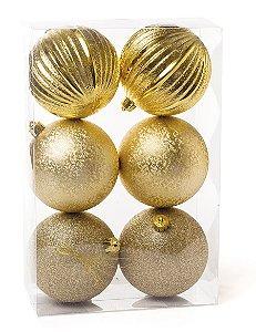 Kit Bolas Texturizadas Gomos Ouro 10cm - 06 unidades - Cromus Natal - Rizzo Embalagens