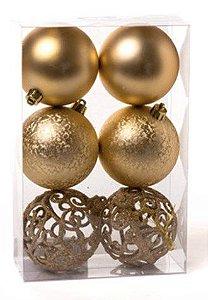 Kit Bolas Texturizadas Vazada Ouro Velho 8cm - 06 unidades - Cromus Natal - Rizzo Embalagens