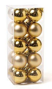 Kit Bolas Sortidas Ouro 4cm - 20 unidades - Cromus Natal - Rizzo Embalagens