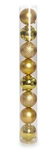 Bolas em Tubo Ouro 6cm - 08 unidades - Cromus Natal - Rizzo Embalagens