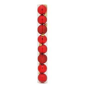 Bolas em Tubo Vermelho 7cm - 08 unidades - Cromus Natal - Rizzo Embalagens