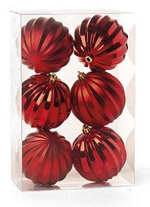 Kit Bolas Texturizadas Gomos Vermelho 10cm - 06 unidades - Cromus Natal - Rizzo Embalagens