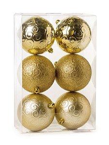 Kit Bolas Texturizadas Arabesco Ouro 10cm - 06 unidades - Cromus Natal - Rizzo Embalagens