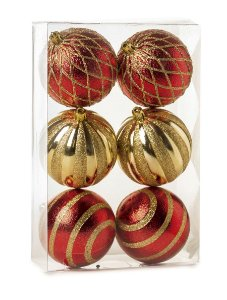 Kit Bolas Texturizadas Losango Vermelho e Ouro 8cm - 06 unidades - Cromus Natal - Rizzo Embalagens