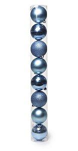 Bolas em Tubo Azul Celeste 7cm - 08 unidades - Cromus Natal - Rizzo Embalagens