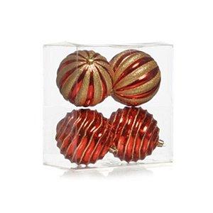 Kit Bolas Texturizadas Sortidas Vermelho e Ouro Glitter 10cm - 04 unidades - Cromus Natal - Rizzo Embalagens