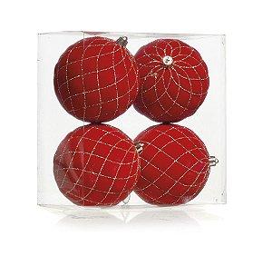 Kit Bolas Texturizadas Losango Vermelho 10cm - 04 unidades - Cromus Natal - Rizzo Embalagens