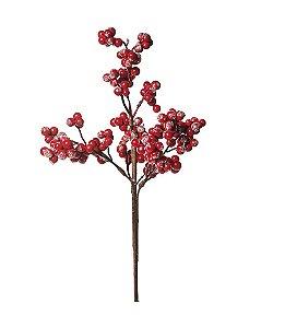 Galho Médio Frutas Açucaradas Vermelho 35cm - 01 unidade - Cromus Natal - Rizzo Embalagens