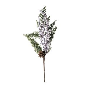 Galho Médio Folhas e Pinha Branca Verde com Branco 35cm - 01 unidade - Cromus Natal - Rizzo Embalagens