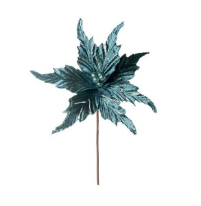 Galho Médio Poinsettia De Veludo Turquesa 35cm - 01 unidade - Cromus Natal - Rizzo Embalagens