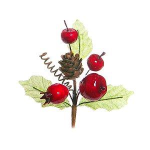 Pick com Galhos Folhas Frutas e Pinha 10cm - 01 unidade - Cromus Natal - Rizzo Embalagens