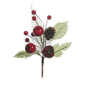 Pick com Galhos Folhas Frutas e Pinha 20cm - 01 unidade - Cromus Natal - Rizzo Embalagens