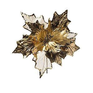 Galho Cabo Curto Poinsettia Ouro com Borda Glitter 25cm - 01 unidade - Cromus Natal - Rizzo Embalagens
