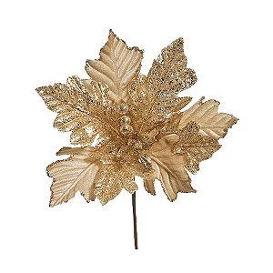 Flor Cabo Médio Ouro com Folhas Glitter e Frutos 35cm - 01 unidade - Cromus Natal - Rizzo Embalagens