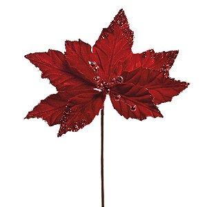Flor Cabo Curto Poinsettia Vermelho com Borda Glitter 30cm - 01 unidade - Cromus Natal - Rizzo Embalagens