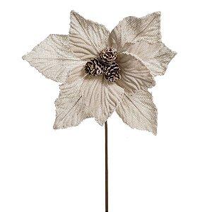 Flor Cabo Curto Poinsettia Marfim com Pinhas 35cm - 01 unidade - Cromus Natal - Rizzo Embalagens